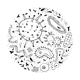다양한 미생물의 둥근 구성.