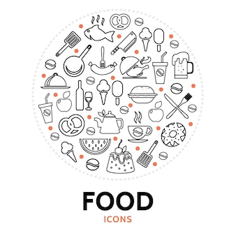 Round composition with food elements