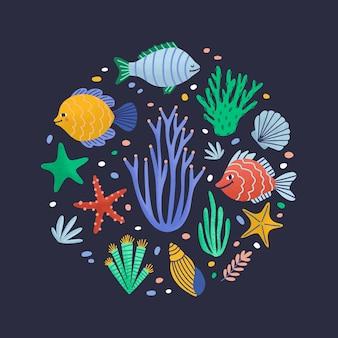 행복한 해양 동물 또는 바다에 사는 재미있는 수중 생물이있는 둥근 구성