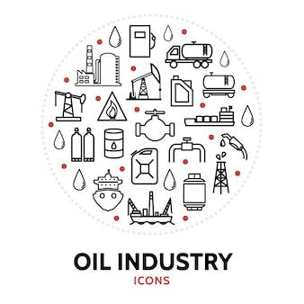Composizione rotonda con elementi dell'industria petrolifera