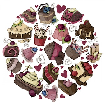 Round composition with sweet food, cakes, muffins