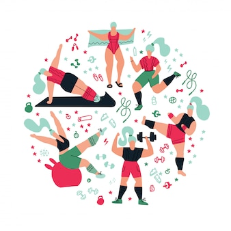 Round composition workout in the gym