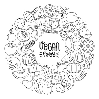 野菜からなる丸い輪郭