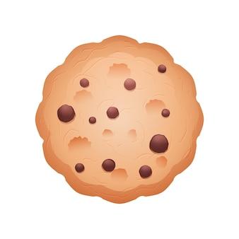 チョコチップ入りの丸いクッキー。白い背景の上の漫画のアイコン。調理。料理の背景。