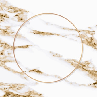 Round copper frame on white marble background