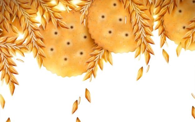 Круглый крекер и пшеничный фон