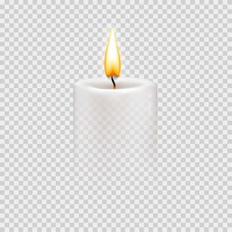 燃える炎のある丸い円筒形のキャンドル。ベクトルの現実的なイラスト。