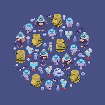 Round decorating design made of isometric robots