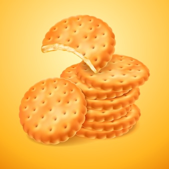 Круглые вкусные печенья или крекеры, изолированные на желтом фоне. надкушенная форма бисквита. хрустящая выпечка. иллюстрация 3d для упаковки вашего дизайна или рекламы.