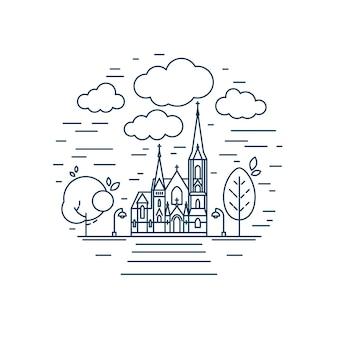 宗教的な建物のイラストのファサードと丸いデザイン