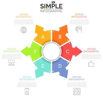 Круглая диаграмма, разделенная на шесть буквенных частей со стрелками, указывающими на тонкие линии, значки и текстовые поля. шесть шагов концепции производственного цикла.