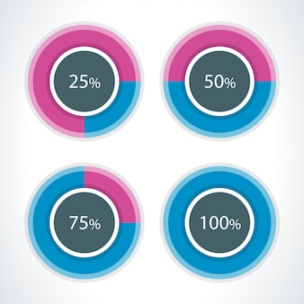 Round diagrams and percent vector design elements for infographics business presentation