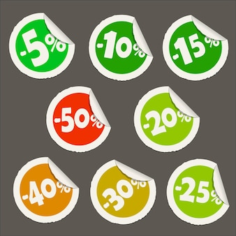 Round discount sticker icons. realistic paper sticker with curved edge