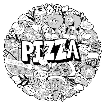 Round doodle pizza pattern, this illustration can be used as a coloring book as well