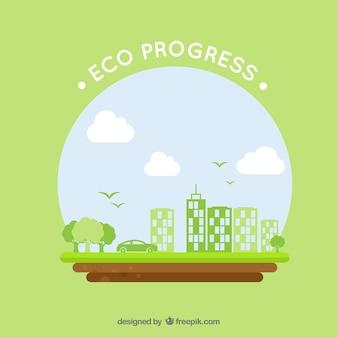 녹색 건물 및 자동차와 라운드 에코 로고