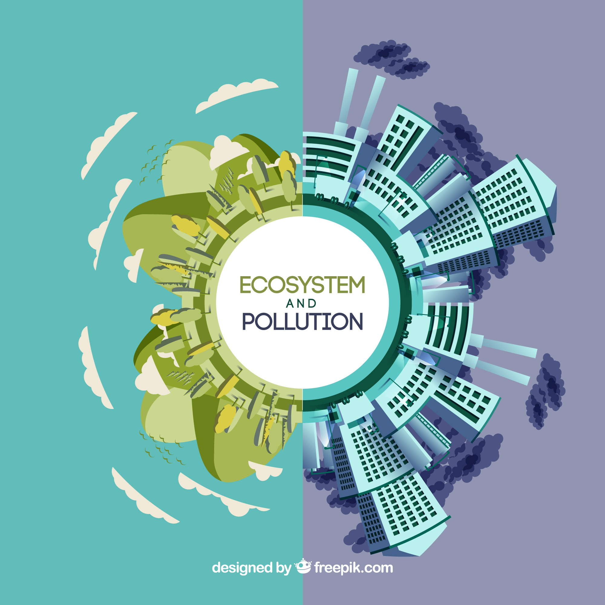 Round ecosystem and pollution concept