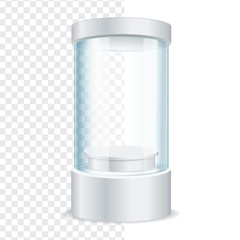 Round empty glass showcase for exhibit on a transparent background. vector illustration