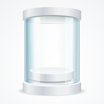 Round empty glass showcase for exhibit with a pedestal. shop expo cylinder. vector illustration