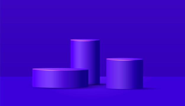 紫色の背景に空のステージと表彰台を丸めます。製品プレゼンテーション用の幾何学的形状の最小限のシーン。