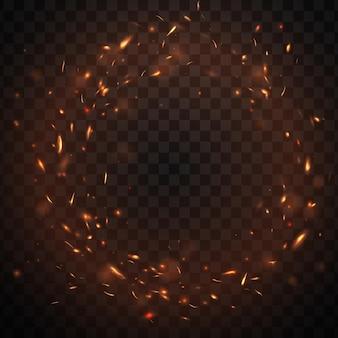 Круглая рамка из искр огня с горящими углями костра