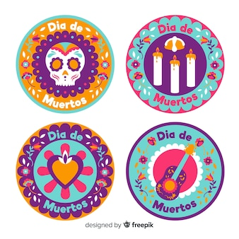 Round flat badges for dia de muertos collection