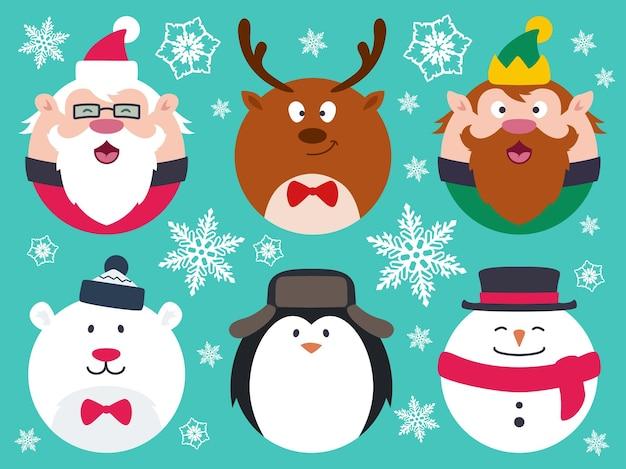 Круглые плоские рождественские персонажи, такие как санта-клаус, олень, эльф, полярный медведь, пингвин, снеговик