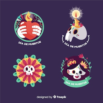 Round flat design of dia de los muertos badge collection