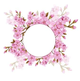 Round floral background with sakura branch