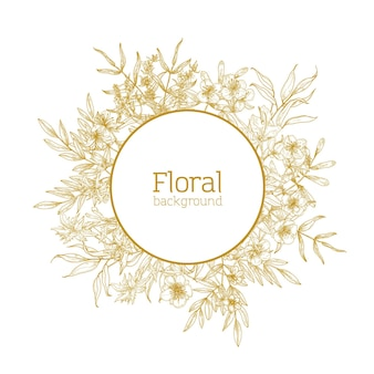 Круглая цветочная декоративная рамка из полевых цветущих цветов.