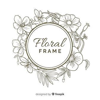 Round floral frame banner realistic hand drawn