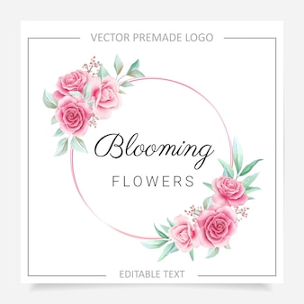 Round floral frame premade logo with blush and burgundy flowers