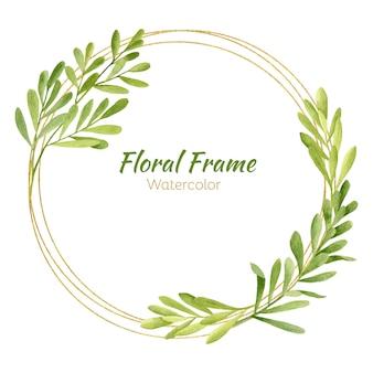 Круглая цветочная рамка с золотыми элементами