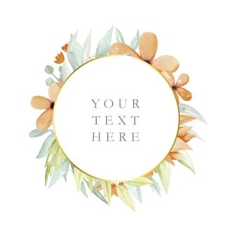 Круглая цветочная рамка с акварельными цветами и листьями