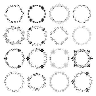 Round floral frames - vector