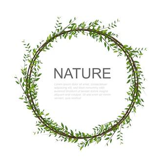 丸い花の招待カードデザイン。木の枝は真ん中のテキストのための場所で円を描きます。