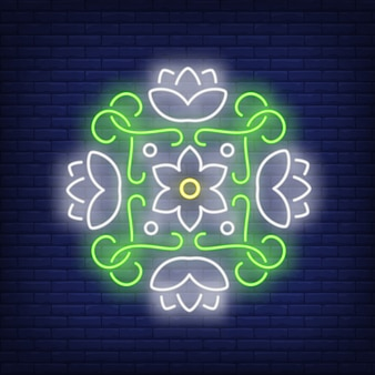 Round floral mandala neon sign
