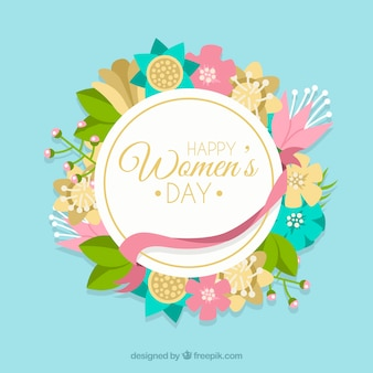 Round floral womans day background