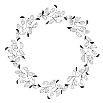 Round flourish vintage decorative leaves frame