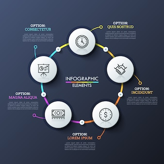 Round flowchart with 5 white circular elements connected by multicolored lines and play buttons. unique infographic design template.