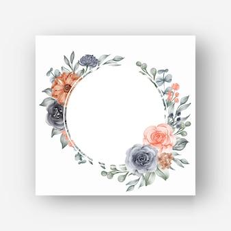 Cornice floreale rotonda con fiori ad acquerello blu navy e pesca