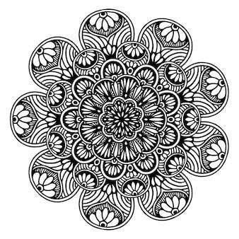 Круглая цветочная мандала для хны, изолированная на белом Premium векторы