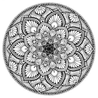 Круглая цветочная мандала для татуировки, хны, раскраски, декоративная.