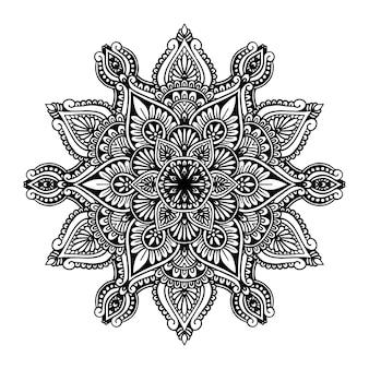 入れ墨、ヘナまたは着色のページのための丸い花曼荼羅