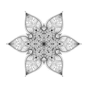 Круглая цветочная мандала для тату, хны или раскраски Premium векторы