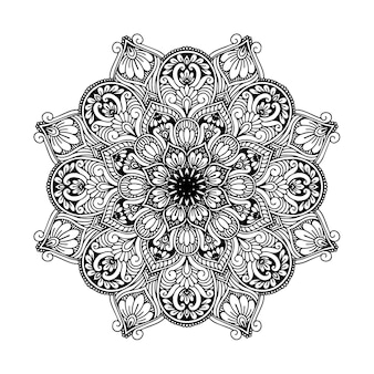 Круглая цветочная мандала для тату, хны или раскраски