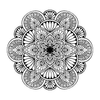 Круглая цветочная мандала для тату, хна. винтажные декоративные элементы. восточный
