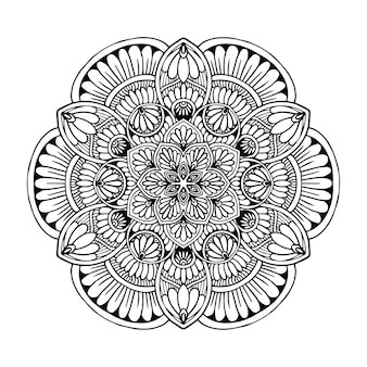 Круглая цветочная мандала для тату, хна. винтажные декоративные элементы. восточный Premium векторы