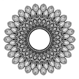 문신, 헤너 라운드 꽃 만다라. 빈티지 장식 요소.