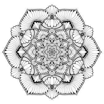 Круглая цветочная мандала, хна. старинные декоративные элементы. Premium векторы