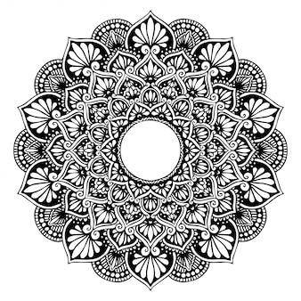Круглая цветочная мандала, хна. старинные декоративные элементы.